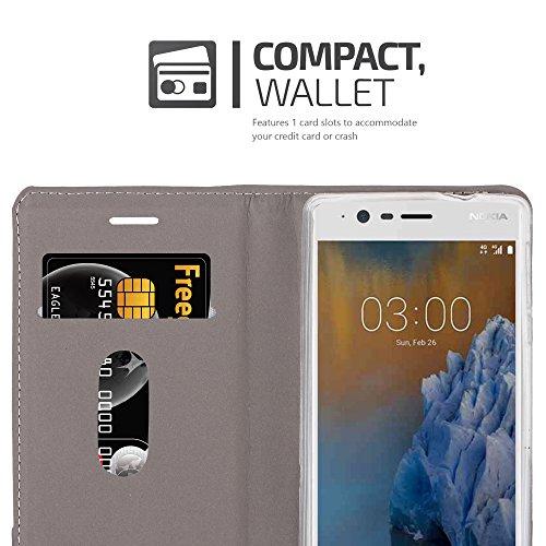Cadorabo - Funda Estilo Book para >                                      Nokia 3                                      < de Diseño Tela / Cuero Arificial con Tarjetero, Función de Soporte y Cierre Magnético Invisible
