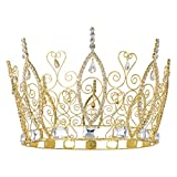 DcZeRong Birthday Queen Crown Women Costume Pageant Prom Queen Crown Cake Topper Gold Round Crown King Crowns Gold Men's Crowns For Adults Prom Pageant Party Rhinestone Full Crowns