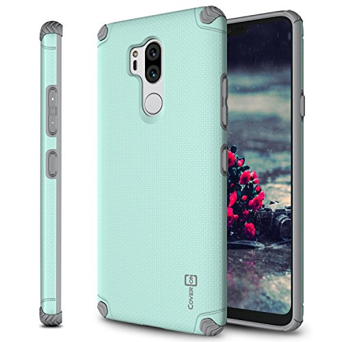 LG G7 ThinQ Case, CoverON Bios Series Minimalist Thin Fit Protective Hard Phone Cover with Embedded Metal Plate for Magnetic Car Mounts for LG G7 ThinQ - Powder Blue