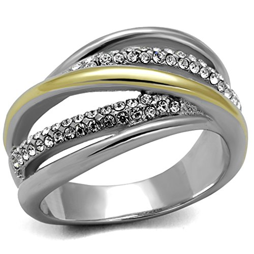 Womens Stainless Steel Two Toned 14k Gold Plated Micro Pave Crystal Fashion Ring Size 5