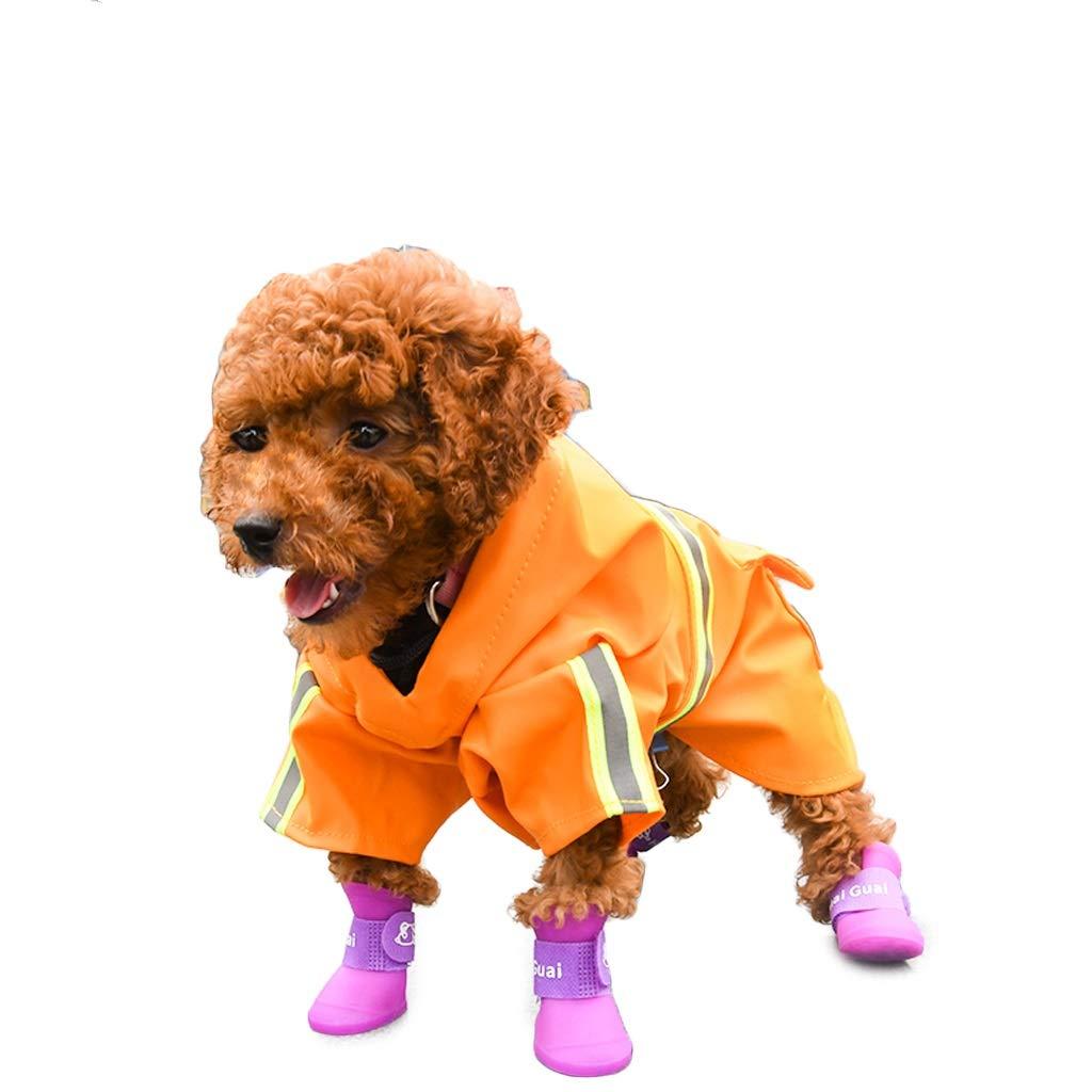 XL LSLMCS Pet Supplies Puppy Waterproof Raincoat Small and Medium Dog Teddy Dog Floatation Vest Costume Two Feet Poncho, Yellow (S-XL) (Size   XL)