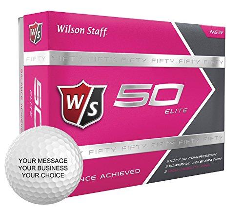 Wilson Staff 50 Elite Personalized Golf Balls - Add Your Own Text (12 Dozen) - Pink