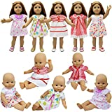 ZITA ELEMENT 5 PCS Fashion Dresses for Baby Dolls Clothes, 18' American Doll and other 14 - 18 Inch (35 - 46cm) Dolls Outfits