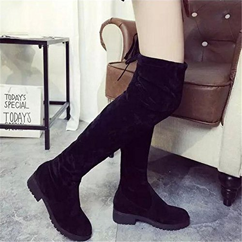 Knee Womens the Heel Boots Over On Black Pull Favoridol Suede Stretch High Low Leather Boots Flat nBwd0q0X