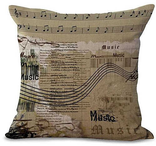 Andreannie Retro Shabby Chic Sheet Music Musical Notes Cotton Linen Personalized Throw Pillow Case Cushion Cover New Home Office Decorative Square 18 X 18 Inches For Music -