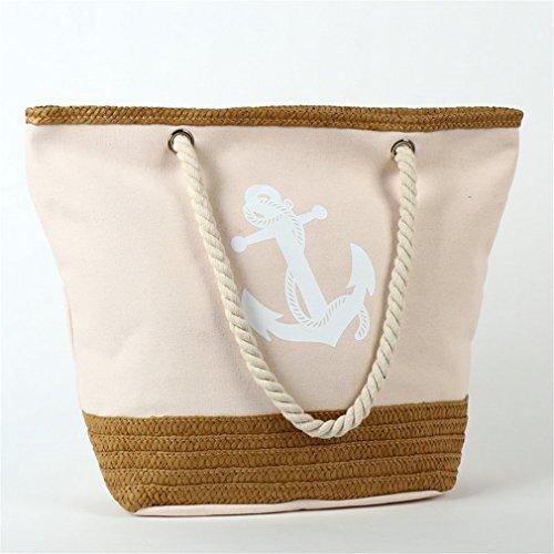Canvas Rope Anchor Straw Light B134 Travel Strips Bag Shopping Tote Weave Bag Pink Bag Beach fwwaRq