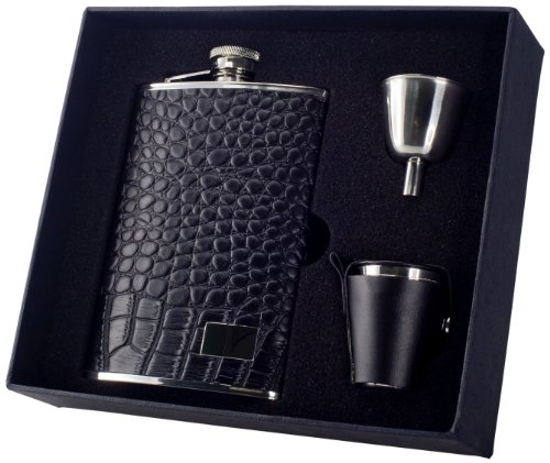 Visol-Gator-Crocodile-Leather-Deluxe-Flask-Gift-Set-8-Ounce-Black