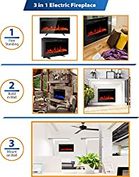 MAXXPRIME Electric Fireplace Insert, Wall Mount, Freestanding & in Wall Recessed Fireplace Heater with Remote Control and Touch Screen