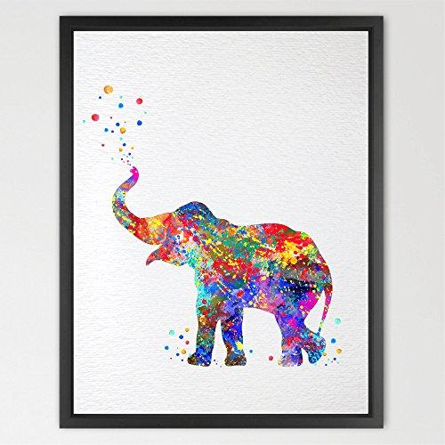 Dignovel Studios Baby elephant trunk up print kids watercolor Art Print Wall Art Poster Nursery decor Kids Art Print Wall Hanging Wedding Birthday Gift N157 (8X10 inch, N157)