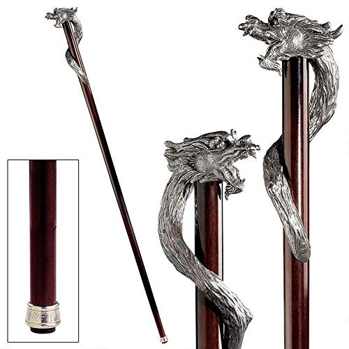 TM Miracle Store Solid Pewter Polished Hardwood Cane Gothic Beast Dragon Walking Stick
