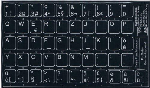 Adhesivo con teclado suiza de teclado, fondo negro