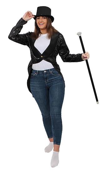 2d793e1afe7b1 UNISEX SEQUIN BLACK TAILCOAT FANCY DRESS COSTUME WITH SATIN TOP HAT   DANCE  CANE - ACCESSORY