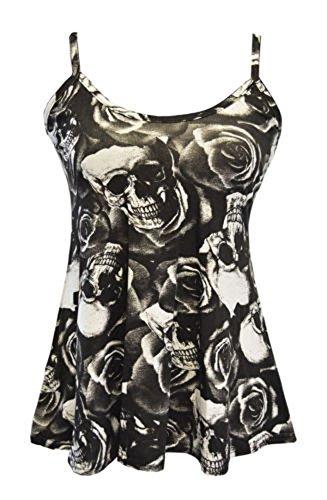 FashionMark Women's New Strappy Skull Black Print Camisole Vest -