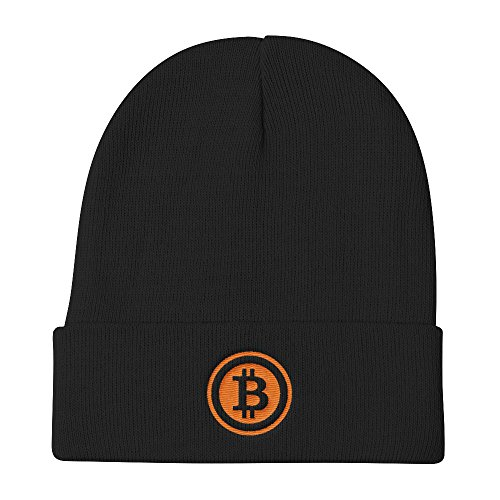 Bitcoin Cryptocurrency Blockchain Embroidered Knit Beanie Hat Gift For Crypto Miner
