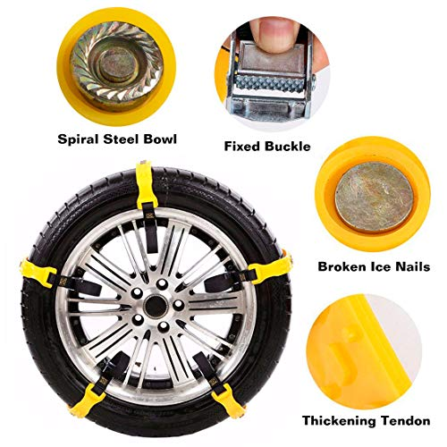 Garne-T Anti Slip Tire Chains Snow Tire Chains Car Emergency Thickening Anti-Skid Chain, Fit for Most Car/SUV/Vans/Truck, Set of 10 with Free Snow Shovel and Gloves (Style 1) by Garne-T (Image #2)