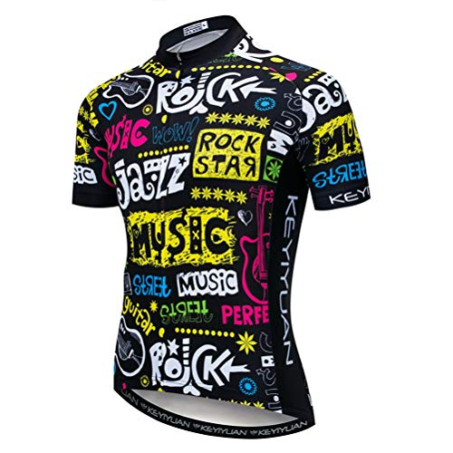 Uriah Men's Cycling Jersey Short Sleeve with Rear Zippered Bag Reflective Rock Star Size XXL