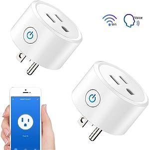 Wifi Smart Plug - 2 Packs Wifi Switch Compatible with Alexa Echo& Google Home,Tuya Smart Plug Remote Control Smart Life Outlet for Smart Home Life, DWFeng