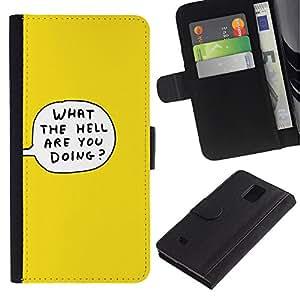 EuroTech - Samsung Galaxy Note 4 SM-N910 - What The Hell Thought Bubble Cartoon Yellow - Cuero PU Delgado caso Billetera cubierta Shell Armor Funda Case Cover Wallet Credit Card