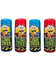 Slime Licker 4-Pack Bundle of Sour Rolling Liquid Candy - TWO Strawberry and TWO Blue Razz Flavor - TikTok Inspired
