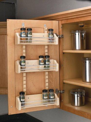 """Rev-A-Shelf 4ASR Adjustable Door Mount Spice Rack With Standard - 16.12"""" Width - Wood"""