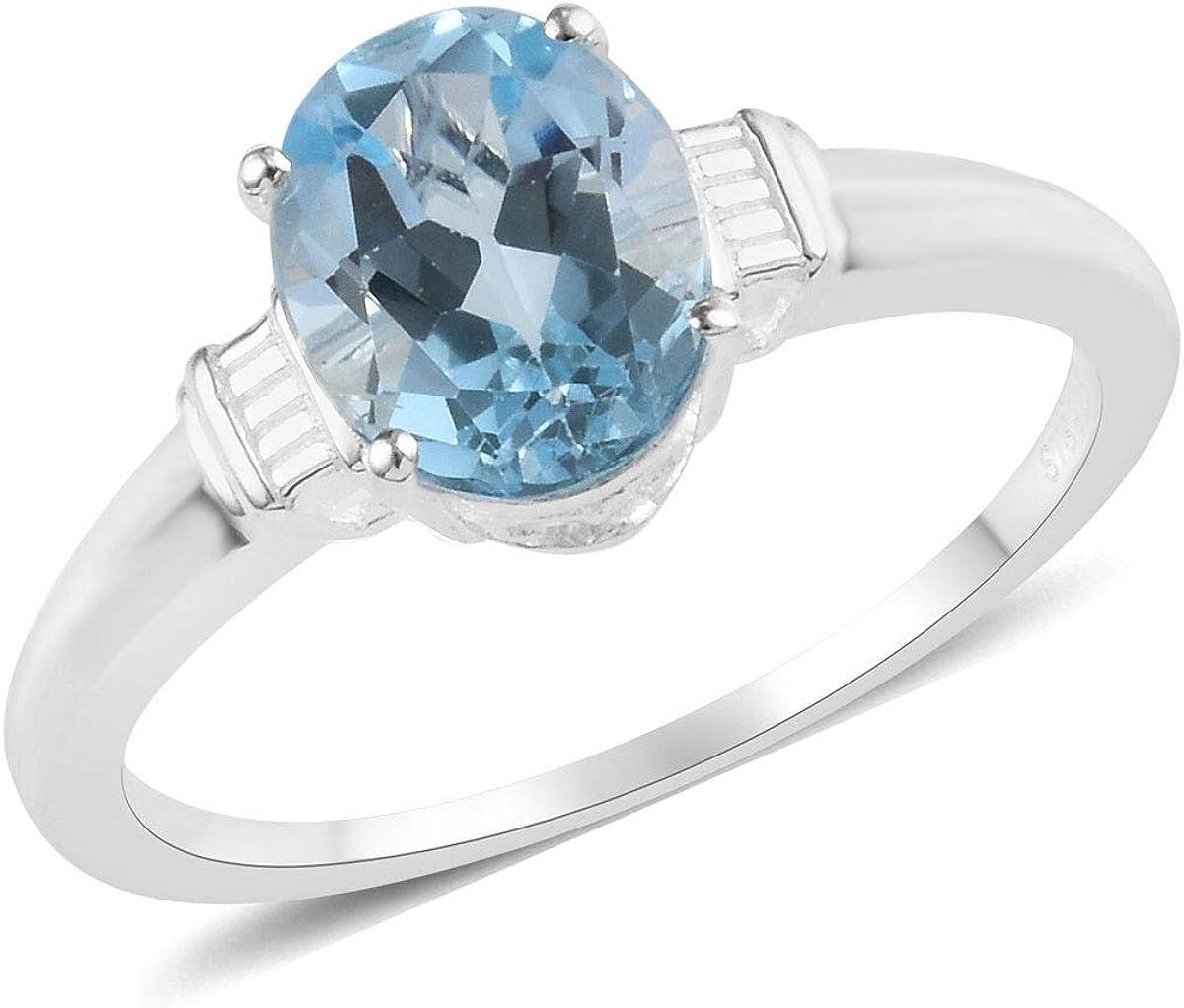 Women gift ring,Gemstone ring Engagement Ring Sky Blue topaz Ring 925 Sterling Silver ring