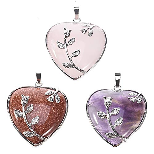 Quartz Necklace, Natural Amethyst Rose Quartz Opalite Healing Crystal Gemstone Heart Pendant Necklace