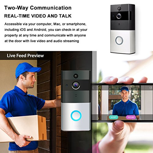 TIVDIO ZC-IP08 Video Doorbell Wireless Doorbell Camera 720P HD Wi-Fi Security Camera with 1 Indoor Chime Built-in 8G Card, App Control for IOS and Android by TIVDIO (Image #7)