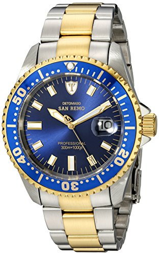 DETOMASO Men's DT1025-D SAN REMO Automatic Divers Watch  Classic blau/mehrfarbig Analog Display Japanese Automatic Two Tone Watch