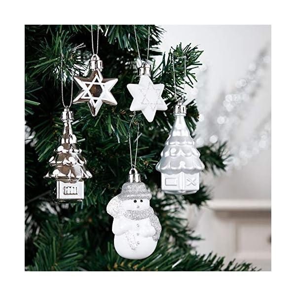 Valery Madelyn Palle di Natale 50 Pezzi di Palline di Natale, 3-5 cm congelato Inverno Argento e Bianco Infrangibile Ornamenti Palla di Natale Decorazione per la Decorazione Dell'Albero di Natale 4 spesavip