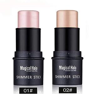 Royu 2 Colors Highlighter Stick, Shimmer Cream Powder Waterproof Light Face Cosmetics, Creamy Self Sharpening Crayon Stick Brightener & Highlighter