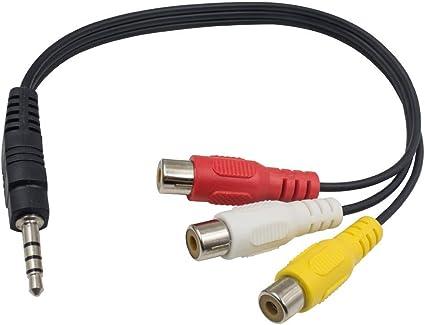 Adaptador de vídeo Maxhood de 3,5 mm, enchufe macho a 3 cables ...