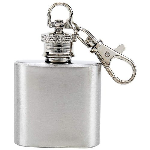 Stainless Steel KEY CHAIN ring Mini drinking Flask 1oz