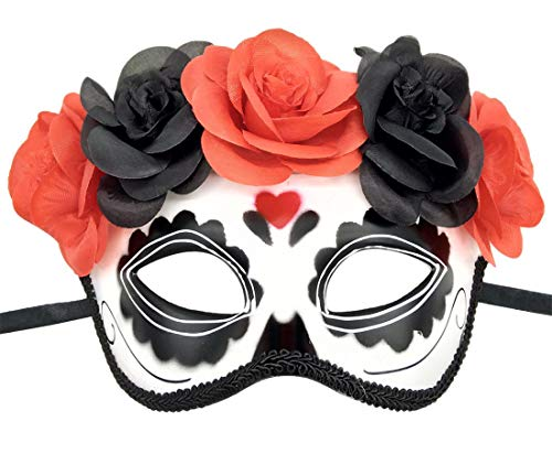 (Women's Masquerade Mask Mexican Day of The Dead Sugar Skull Eyemask Masque Fancy Dress (Y)