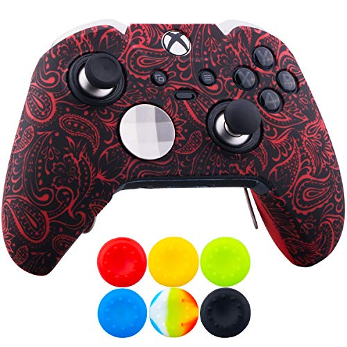 9CDeer 1 x Protective Customize Transfer Print Silicone Cover Skin Plants Red + 6 Thumb Grips Analog Caps for [Xbox One Elite] Controller Compatible with Official Stereo Headset Adapter (Red Silicone Xbox One Controller)