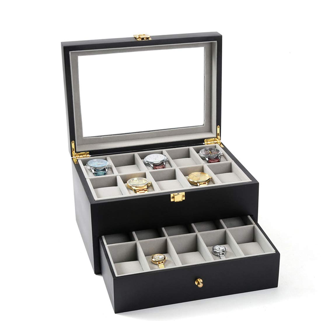FELICIAAA ロック付きの絶妙な木製のダブルレイヤー世帯の腕時計のコレクションボックス (Color : ブラック) B07NW5YR6P ブラック