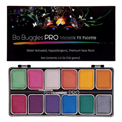 Bo Buggles Professional Metallic FX Face Paint Kit. Water-Activated Face Painting Palette. Loved by Pro Painters for Vibrant Detailed Designs. 12x10 Gram Paints +2 Brushes. Safe Makeup Paint Supplies (Face Paint Designs)