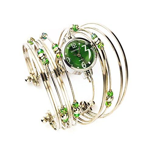 Womens Quartz Bracelet Watch Fashion Analog Multilayer Stainless Steel Ladies Jewelry Watches Women Wristwatch on Sale (Green) from AEHIBO