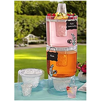 2 Pk Daily Chef Unbreakable Stackable Beverage Dispenser Server Set 1 75 Gallon Each With Faucets Ice Cones