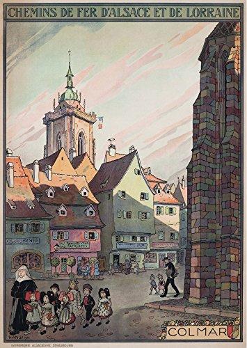 Colmar - Chemins de Fer d'Alsace et de Lorraine (artist: Hansi) France c. 1921 - Vintage Advertisement (12x18 Art Print, Wall Decor Travel Poster)
