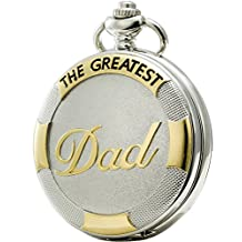 SEWOR Father's Day Family Gift Necklace Quartz Pocket Watch Shell Dial Gold Sliver Case (Dad)