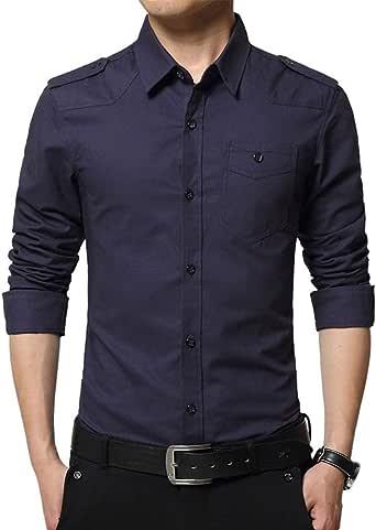 Hombre Cargo Slim Fit Básica de Manga Larga Camisa Color Sólido Cuello con Botón Ocio Camisa Formal con Bolsillo: Amazon.es: Ropa y accesorios