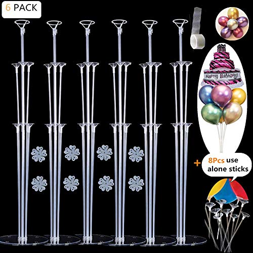 - EFAY Balloon Sticks Large Balloon Stand Kit Suit for Mylar and Latex Balloons, Reusable Table Centerpieces Top Decoration for Baby Showers, Birthday, Wedding Party Decoration- (6 Pack)
