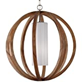 Feiss F2952/1LW/BS 1-Bulb Chandelier, Light Wood/Brushed Steel Finish by Lumtopia--DROPSHIP