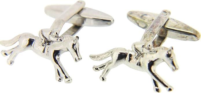 Silver David Van Hagen Mens Horse Shoe Cufflinks