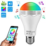 Smart Music Led Light Bulb, MINGER 6.5W A19 RGB+W Color Changing Led Lights With 3W Speaker, Perfect For Desk Lamp, Bedroom, Piano, Hotels, Store, Stage, Holiday Gift