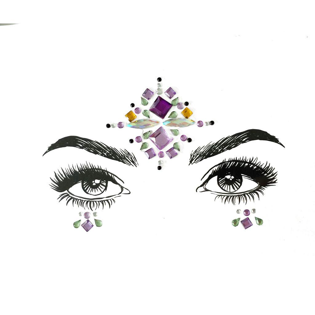 Holata Stickers Face Gems Adhesive Glitter Jewel Wedding Festival Rave Party Body Make Up (H)