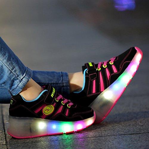 Meurry Niños Unisex LED Luz Parpadea Ruedas Zapatillas Auto-párrafo Roller Zapatos Patines Deportes Zapatos Correr Para Niños Navidad Halloween Regalo Red