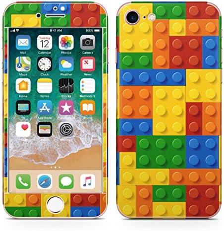 igsticker iPhone SE 2020 iPhone8 iPhone7 専用 スキンシール 全面スキンシール フル 背面 側面 正面 液晶 ステッカー 保護シール 001168 ユニーク その他 ブロック カラフル