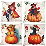 ZUEXT Set of 4 Pumpkin Spice Autumn Harvest Season Throw Pillow Covers, Fall Decor Decorative Throw Pillow Case, Cotton Linen Cushion Cover 18 x 18 Inches (Halloween Vintage Style Cute Cat Girl)