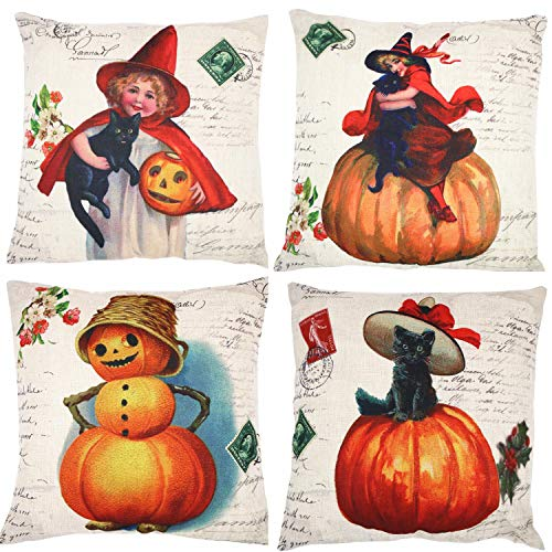 ZUEXT Set of 4 Pumpkin Spice Autumn Harvest Season Throw Pillow Covers, Fall Decor Decorative Throw Pillow Case, Cotton Linen Cushion Cover 18 x 18 Inches (Halloween Vintage Style Cute Cat Girl) ()